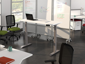 2 T Leg HiLo Height Adjustable Table - Free standing desk with access from either side