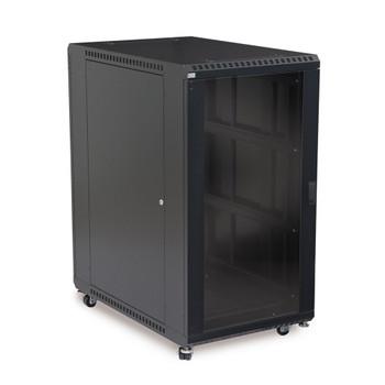 """22U LINIER Server Cabinet - Glass & Solid Doors - 36"""" Depth Includes one Locking Solid Door"""