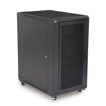 "22U LINIER Server Cabinet - Convex & Glass Doors 36"" Depth Includes one locking convex door and one locking tempered glass door"