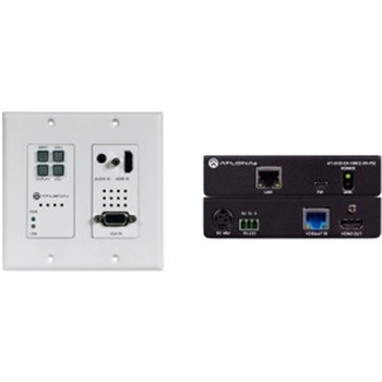 Atlona 4K/UHD HDBaseT TX/RX with Two-Input Wall Plate Switcher,Ethernet,Control,and PoE