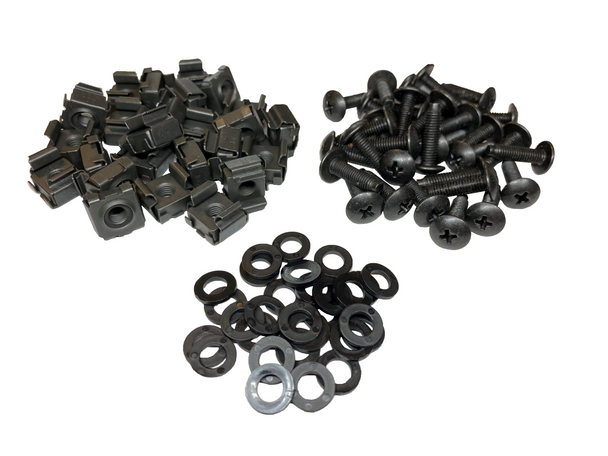 10-32 Snap-on Cage Nuts, Screws w/ Washers - 25 Pack USA Made