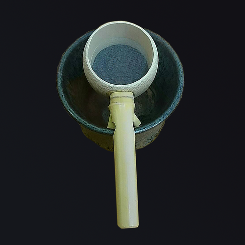 Unique Taiwanese tea strainer made from natural bamboo. Features natural cotton fiber webbing, so that no metal touches the tea.