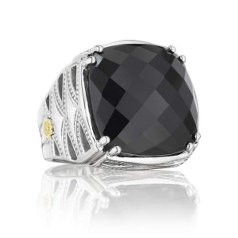 SILVER/18K BLACK ONYX CLASSIC ROCK RING