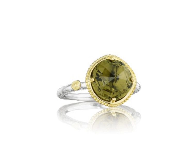 SILVER/18 KARAT YELLOW GOLD 10MM OLIVE QUARTZ LARGE STACKABLE RING