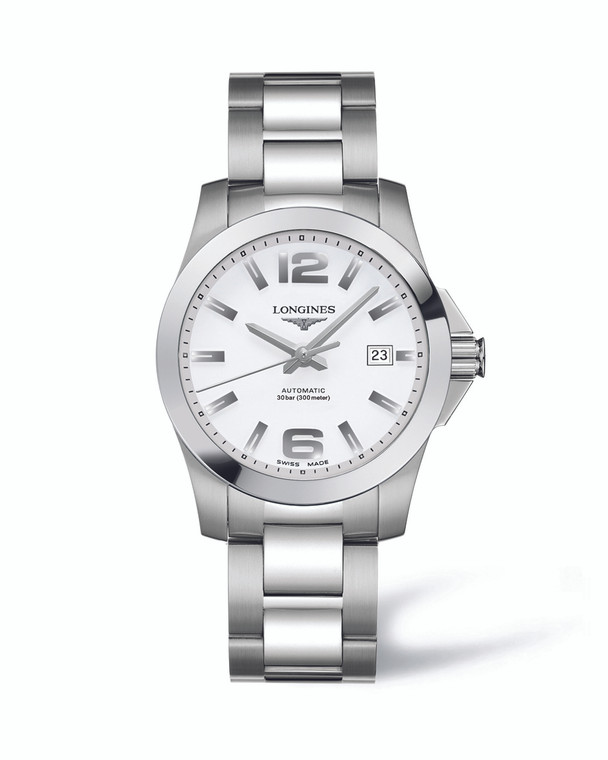 CONQUEST 39MM STAINLESS STEEL BRACELET WHITE ARABIC DIAL AUTOMATIC