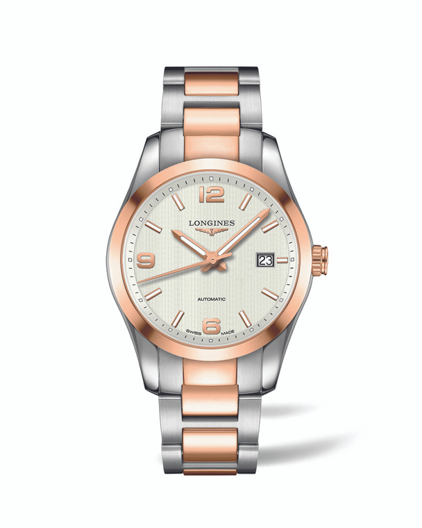 CONQUEST CLASSIC 40MM STAINLESS STEEL AND 18K ROSE GOLD BRACELET SILVER ARABIC DIAL WITH DATE AUTOMATIC