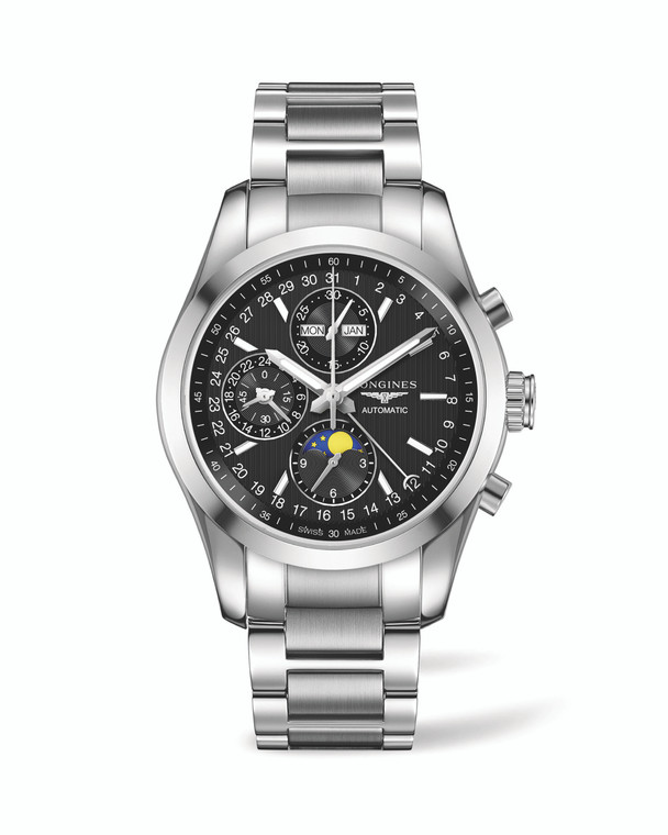 CONQUEST CLASSIC 42MM STAINLESS STEEL BRACELET BLACK 24HR MOONPHASE CHRONOGRAPH AUTOMATIC