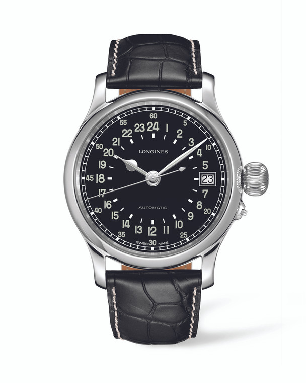 LONGINES TWENTY-FOUR HOURS 47MM STAINLESS STEEL CASE BLACK ALLIGATOR STRAP BLACK ARABIC DIAL AUTOMATIC