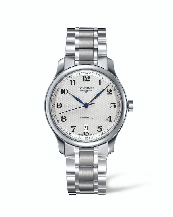 MASTER COLLECTION 38MM STAINLESS STEEL  BRACELETWHITE ARABIC DIAL WITH DATE AUTO