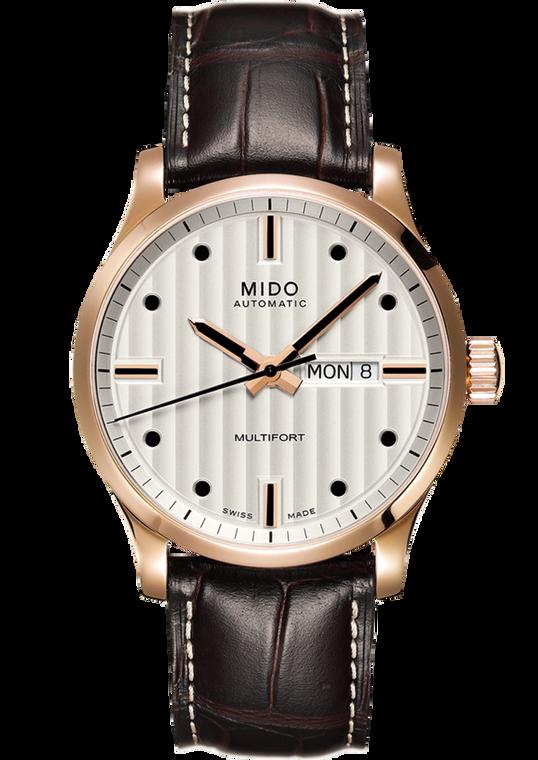 Mens Multifort, Silver dial, Brown Leather bracelet