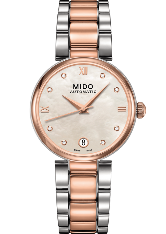 Ladies Baroncelli, Mop dial, Stainless Steel With Rose Gold Pvd bracelet
