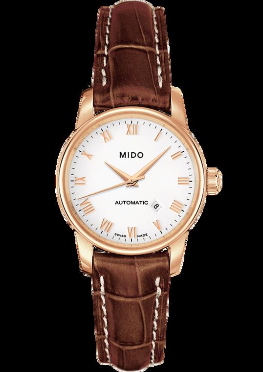 Ladies Baroncelli, White dial, Brown Leather bracelet