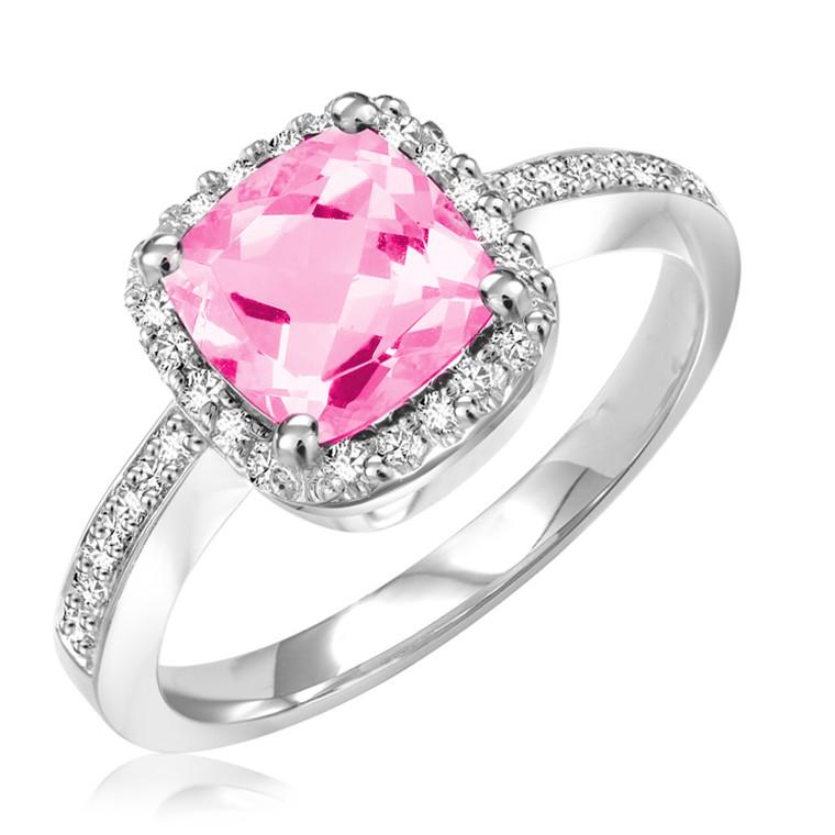 DIAMOND &  SYNTHETIC PINK QUARTZ RING  #02-04031PQ