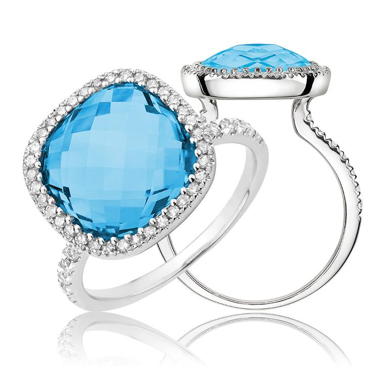 BLUE TOPAZ & DIAMOND RING  #02-04036BT