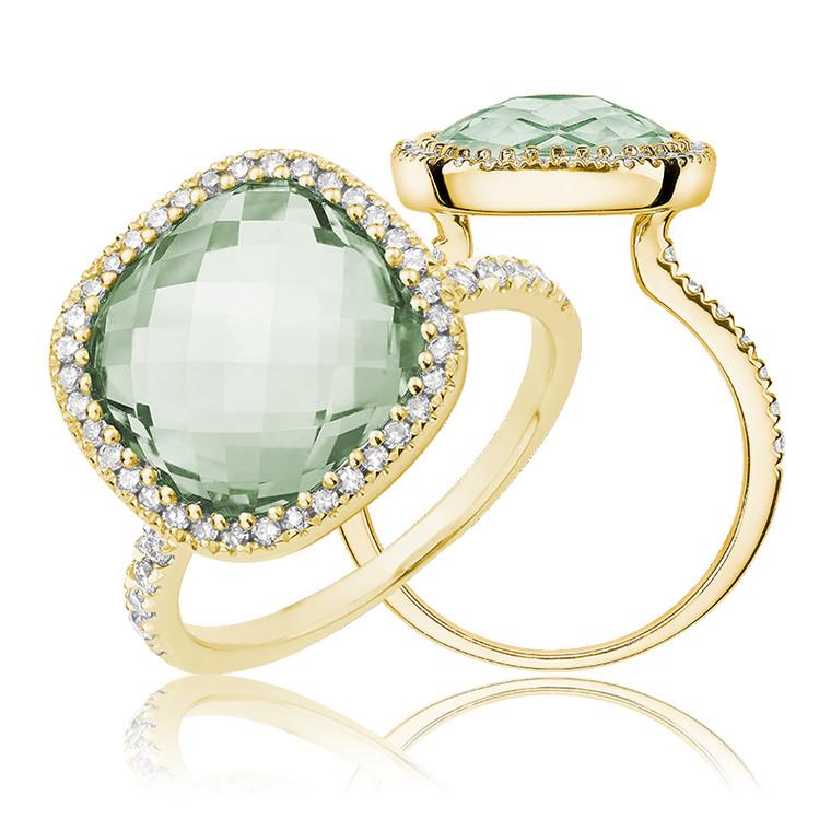 GREEN AMETHYST & DIAMOND RING  #02-04036YGA