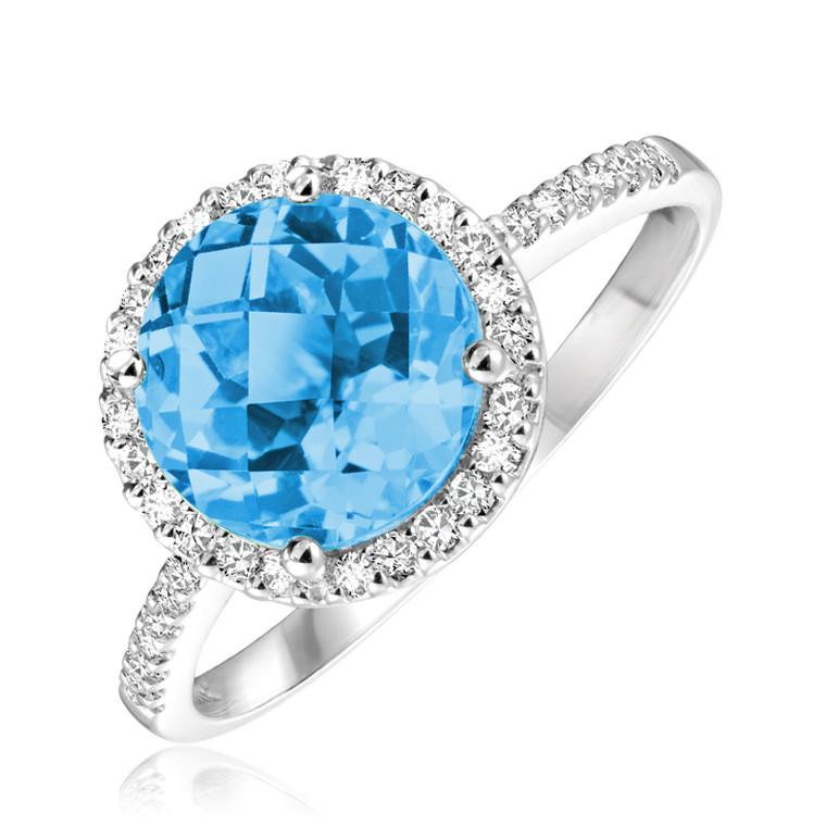 BLUE TOPAZ & DIAMOND RING  #02-0406BT