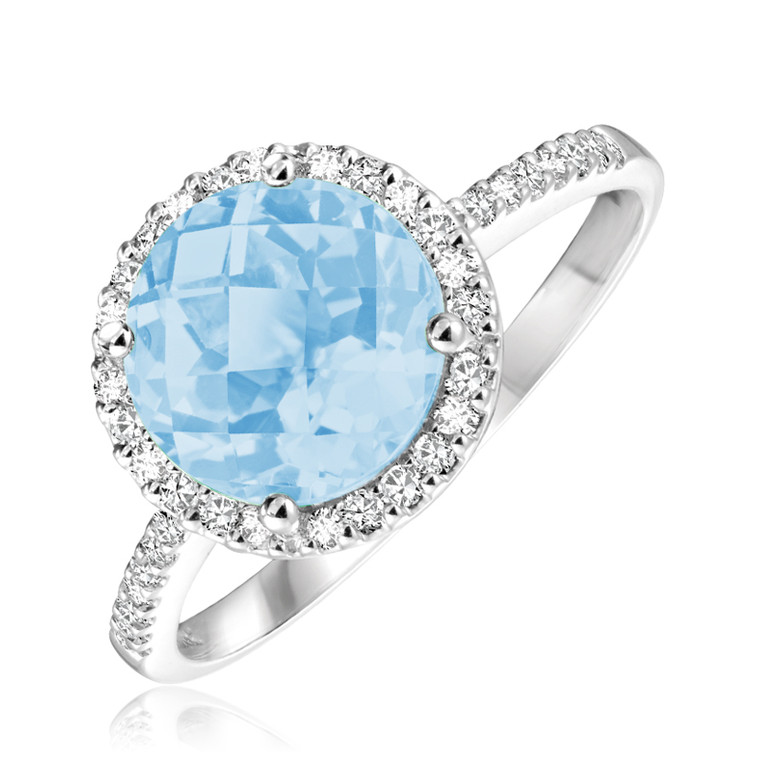 SKY BLUE TOPAZ & DIAMOND RING  #02-0406SK