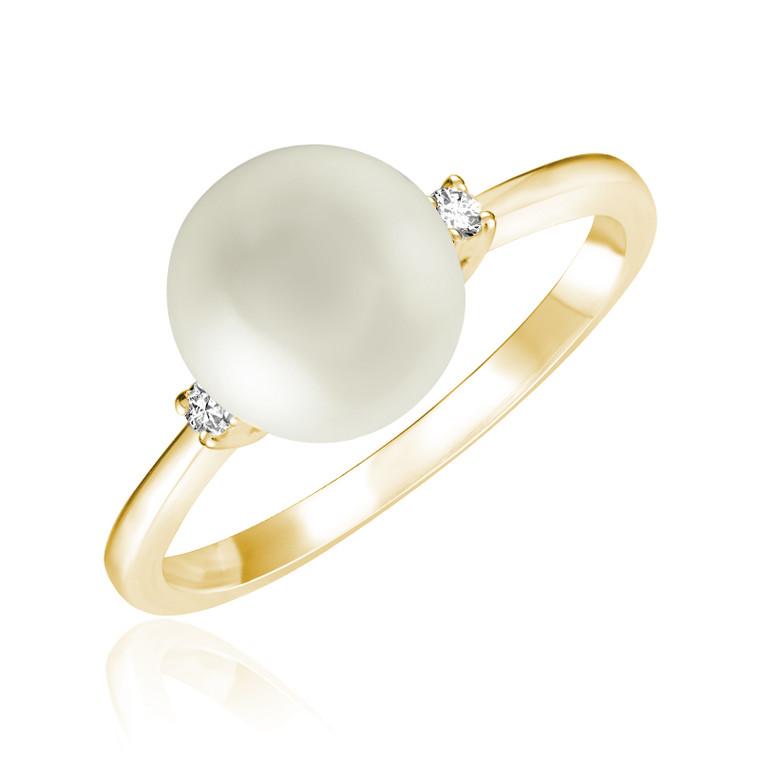 PEARL & DIAMOND RING  #02-040810YWP