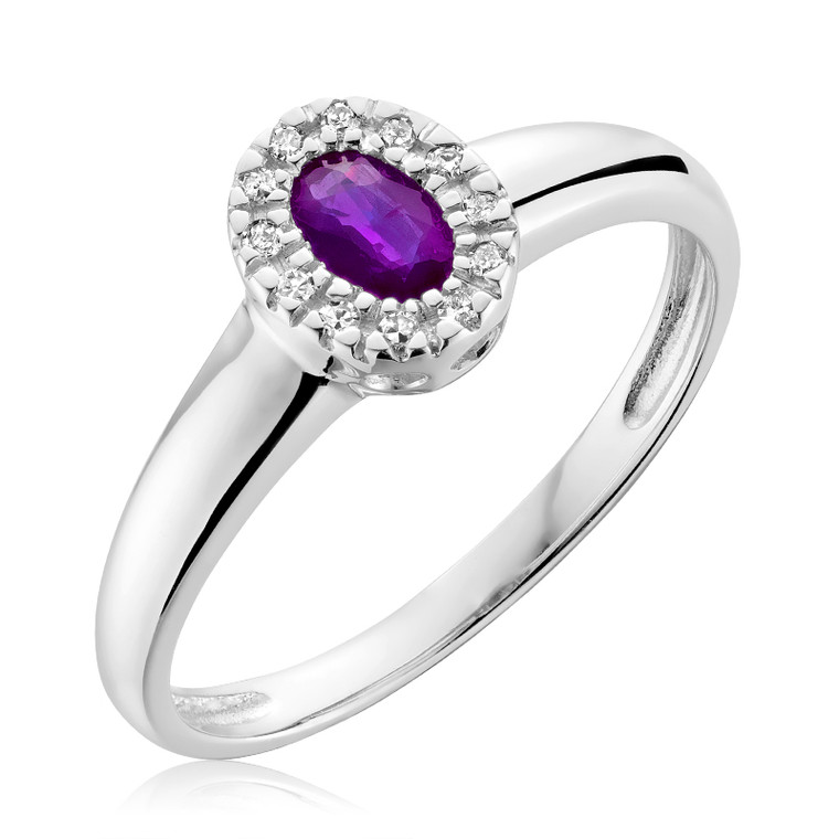 AMETHYST & DIAMOND RING  #02-041001AM