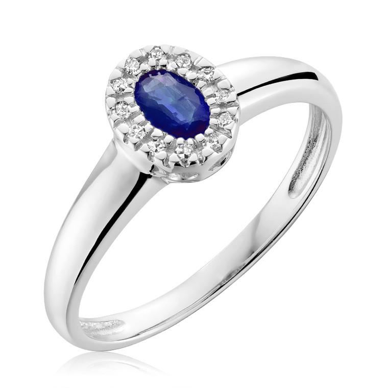 BLUE SAPPHIRE & DIAMOND RING #02-041001BS
