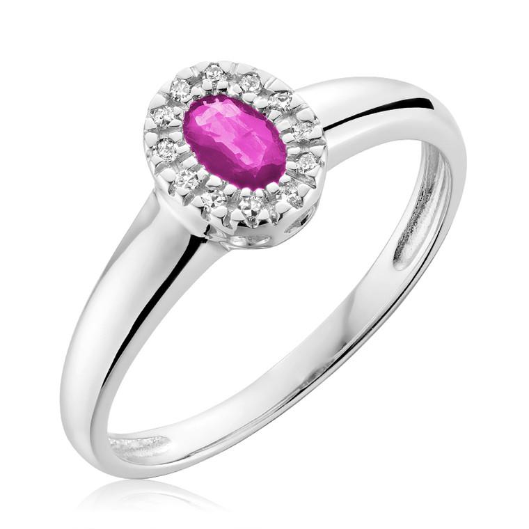 DIAMOND &  SYNTHETIC PINK QUARTZ RING  #02-041001PQ