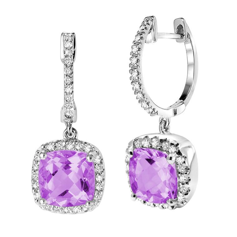 AMETHYST & DIAMOND EARRING  #13-04031AM