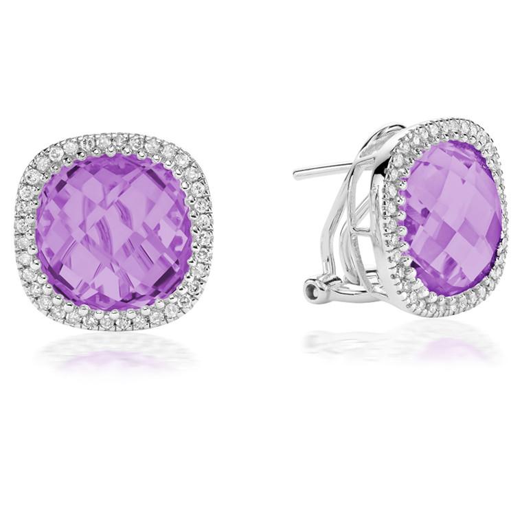 AMETHYST & DIAMOND EARRING  #13-04036AM