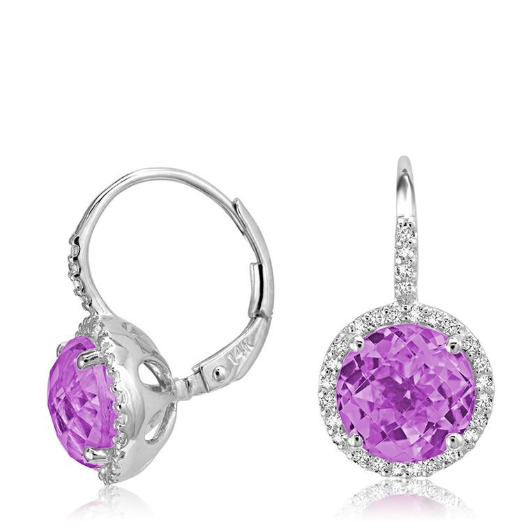 AMETHYST & DIAMOND EARRING  #13-0406AM