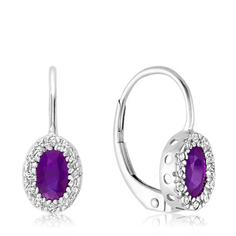 AMETHYST & DIAMOND EARRING  #13-041001AM