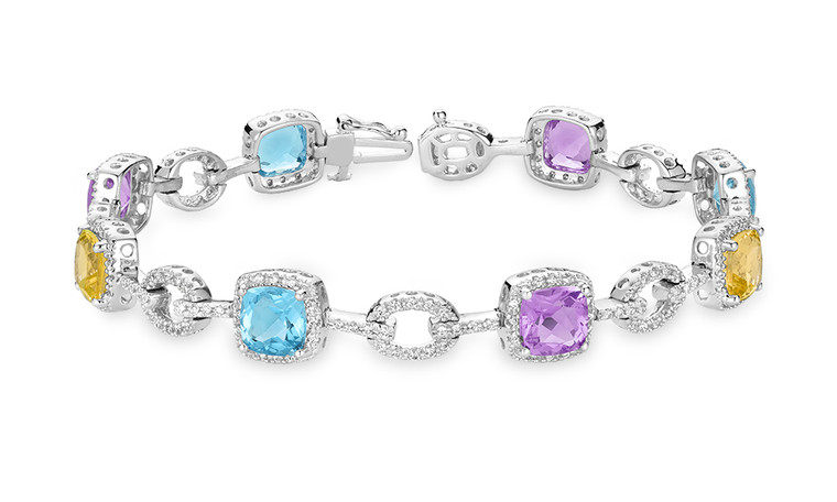 AMETHYST, BLUE TOPAZ, CITRINE & DIAMOND BRACELET #04-04028MC