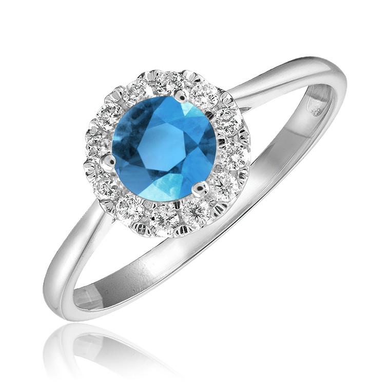 BLUE TOPAZ & DIAMOND RING  #02-04MC1BT