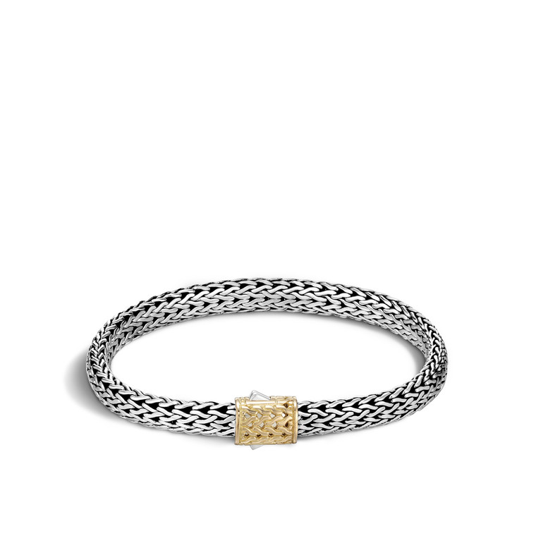WOMEN's Classic Chain Gold & Silver Small Chain Bracelet with Pusher Clasp, Size M