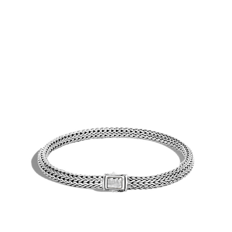 WOMEN's Classic Chain Hammered Silver Extra Small Chain Bracelet with Pusher Clasp, Size L