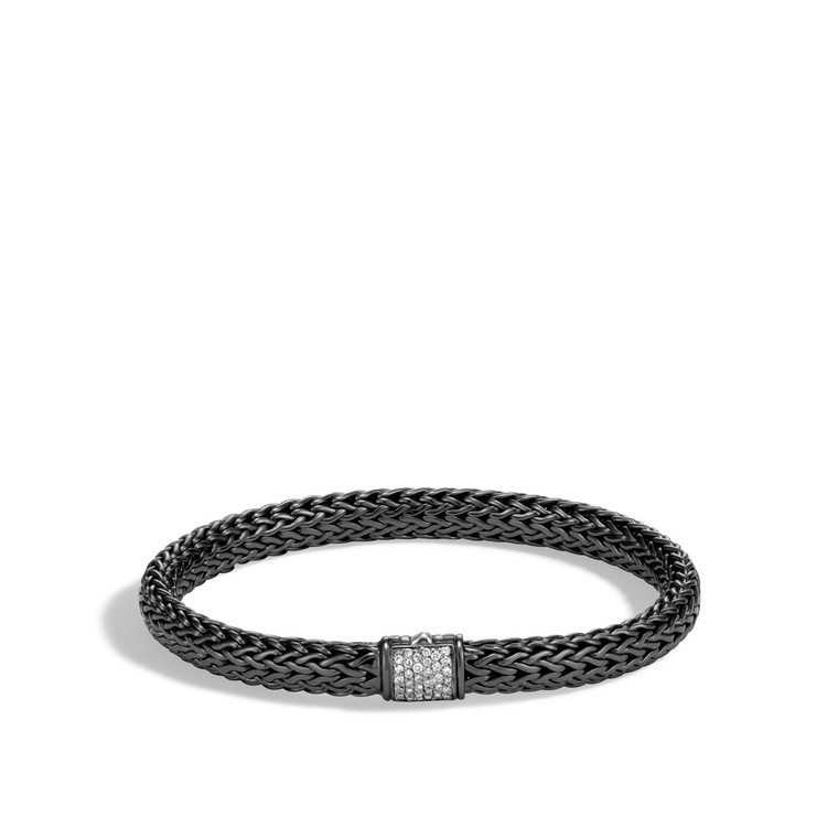 WOMEN's Classic Chain Silver Diamond Pave (0.16ct) Small Bracelet with Pusher Clasp with Black Rhodium, Size M