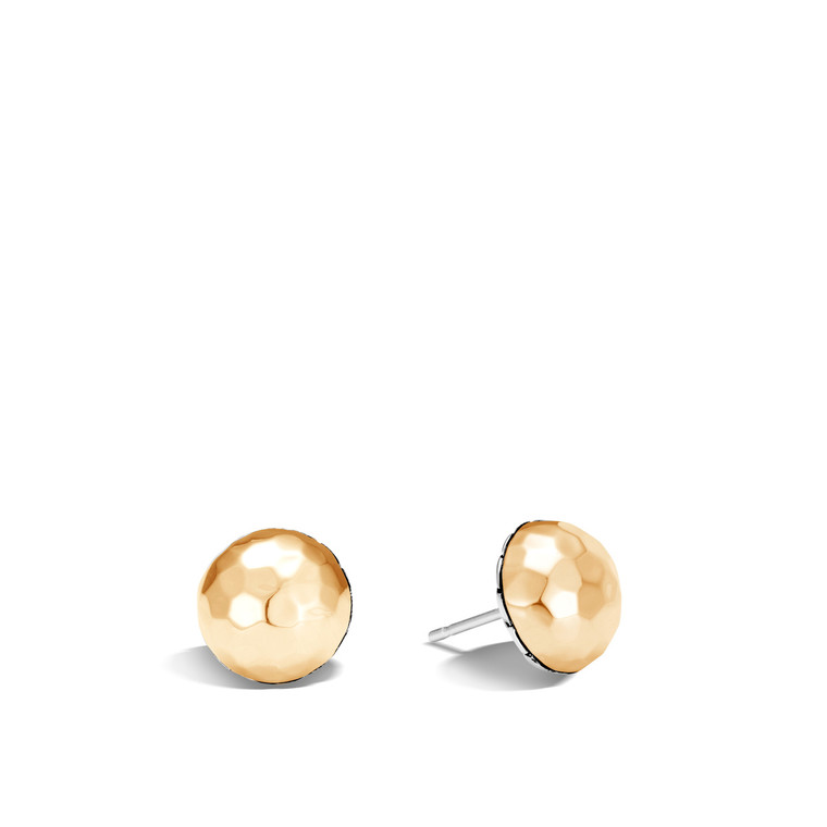 WOMEN's Classic Chain Hammered Gold & Silver Large Stud Earrings BG