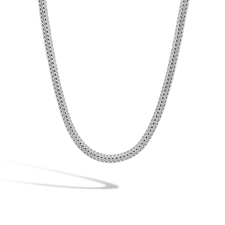 """WOMEN's Classic Chain Silver Small Necklace (6.5mm), 32"""""""