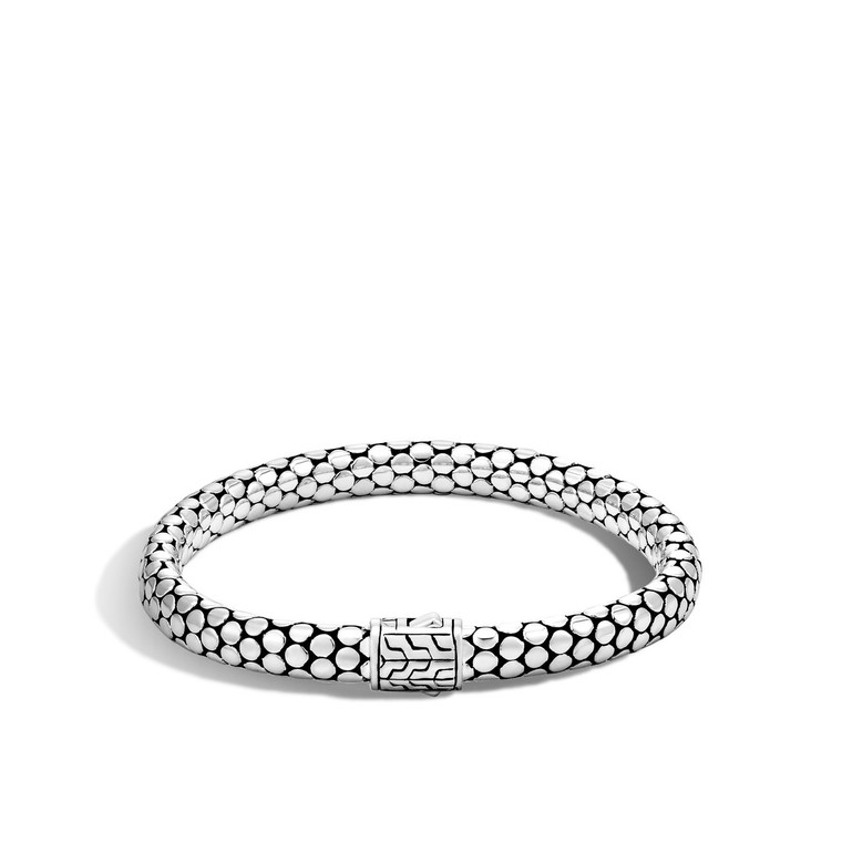 WOMEN's Dot Silver Small Chain Bracelet with Pusher Clasp, Size M