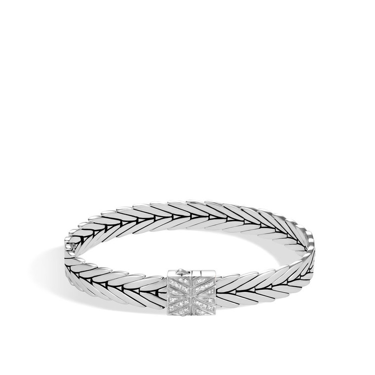 WOMEN's Modern Chain Silver Diamond (0.09ct) Small Bracelet 8mm with Pusher Clasp, Size M
