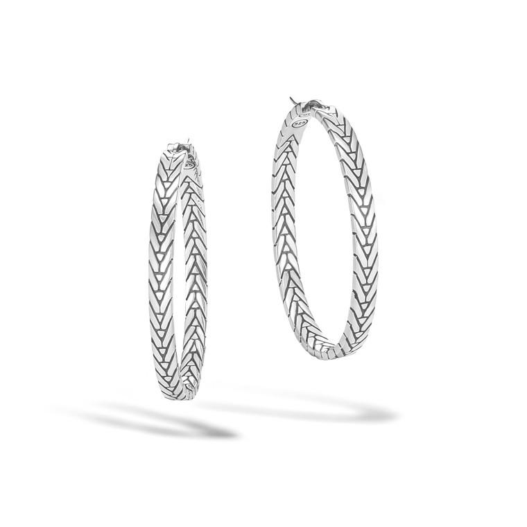 WOMEN's Modern Chain Silver Medium Hoop Earrings (Length 37.5mm) with Full Closure