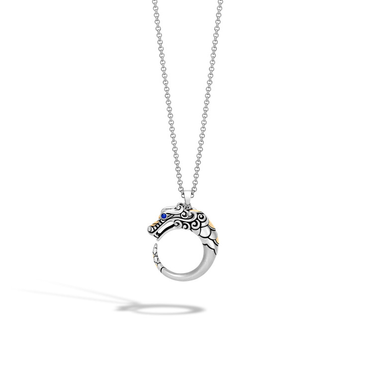 WOMEN's Legends Naga 18K Gold & Silver Pendant- on 2mm Mini Rolo Chain Necklace in Brushed Finish with Blue Sapphire Eyes, Size 16-18 Adjustable