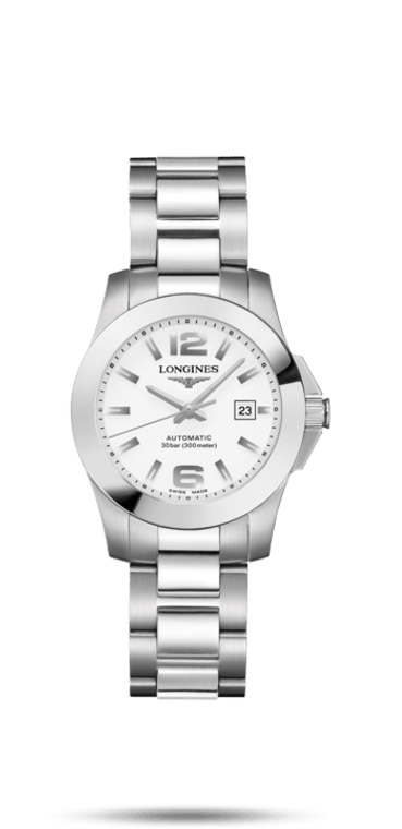 CONQUEST 29.5MM STAINLESS STEEL BRACELET WHITE ARABIC DIAL AUTOMATIC
