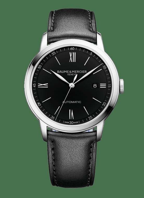 Baume Mercier Gents CLASSIMA, Automatic - Black Dial, Black Leather Strap