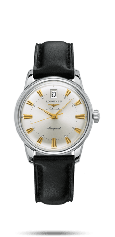 CONQUEST HERITAGE 35 MM STAINLESS STEEL CASE BLACK LEATHER STRAP SILVER INDEX DIAL WITH DATE AUTOMATIC