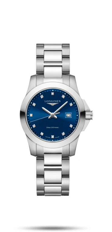 CONQUEST  LADIES STAINLESS STEEL BRACELET AND BLUE DIAL