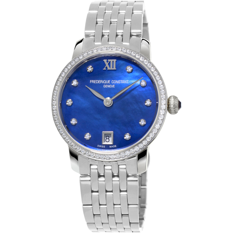 FREDERIQUE CONSTANT LADIES SLIMLINE, BLUE MOTHER OF PEARL DIAL