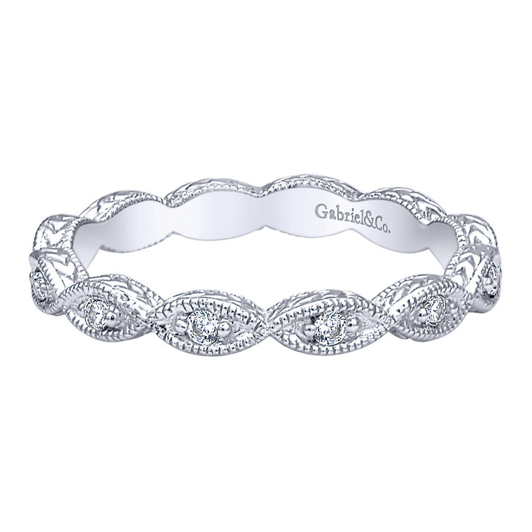 14k white gold ring/band with 0.12 ct. of diamonds #LR4381W45JJ