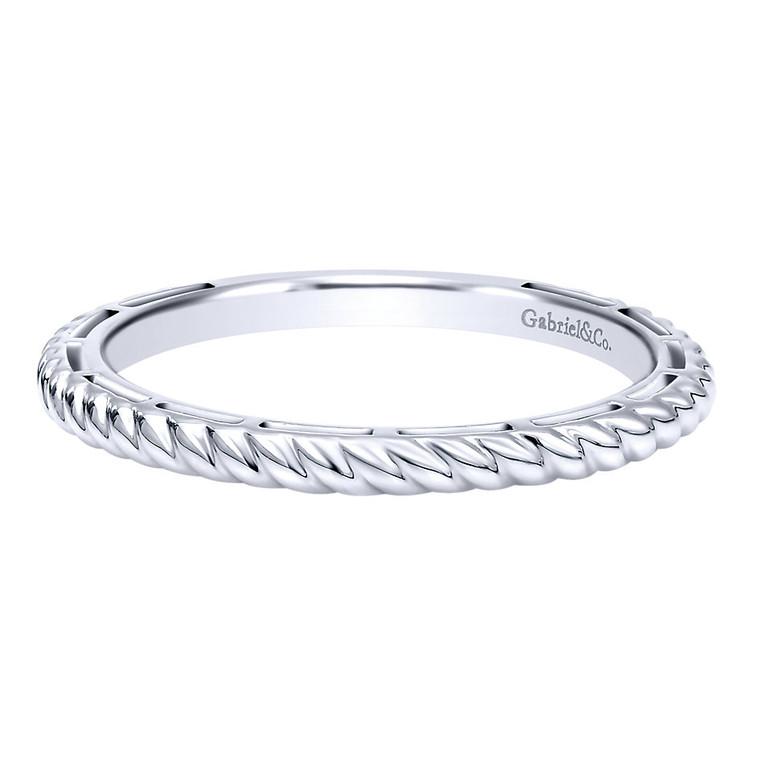 14k white gold ring/band with rope pattern #LR4582W4JJJ