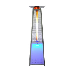 Lava Heat Italia Triangular 8 ft. Commercial LED Color Base Column of Flame Patio Heater with Remote (LHI-122)