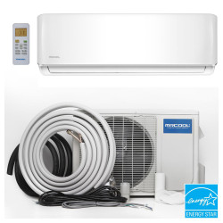 MrCool O-ES-18-HP Mini Split Evaporator, Condenser and Line Set showing Energy Star Rated