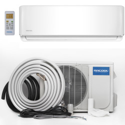 MrCool A-24-HP Mini Split Evaporator, Condenser and Line Set showing Energy Star Rated